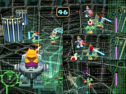 Wario about to lose in Mario Mechs from Mario Party 5
