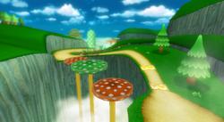 View of Mushroom Gorge in Mario Kart Wii