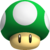 A 1-Up Mushroom in New Super Mario Bros. Wii.
