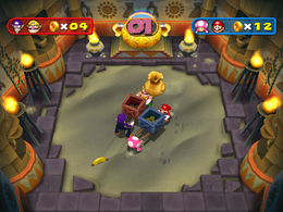 It's raining coins and bags in Pyramid Scheme from Mario Party 7!