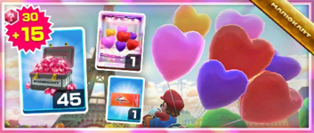 The Heart Balloons Pack from the Valentine's Tour in Mario Kart Tour