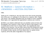 My email from Nintendo, disclosing information about the Toad character.