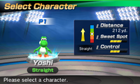 Yoshi's stats in the golf portion of Mario Sports Superstars