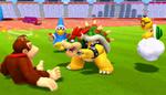 Bowser challenges a dazed Donkey Kong while Lakitu and Magikoopa watch