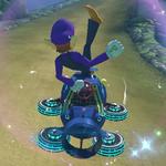 Waluigi performs a trick.