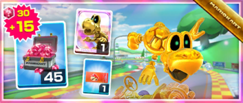 The Dry Bones (Gold) Pack from the 2020 Winter Tour in Mario Kart Tour