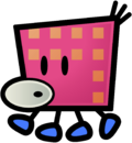 Concept artwork of a Squiglet from Super Paper Mario.