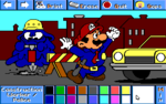 A Bot as a construction worker and Mario as a police officer.