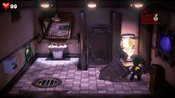 Luigi exploring the Hotel Shops restroom.