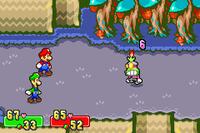 Screenshot of Popple taking damage from the Burn status in Mario & Luigi: Superstar Saga