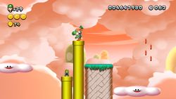 Luigi sighting in Above the Bouncy Clouds from New Super Luigi U