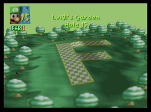The fifteenth hole of Luigi's Garden from Mario Golf (Nintendo 64)