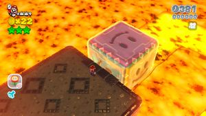 Luigi sighting in Grumblump Inferno, World Bowser-7 in Super Mario 3D World.