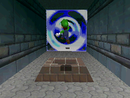 Luigi entering Bowser in the Fire Sea