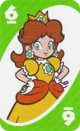 The Green Six card from the UNO Super Mario deck (featuring Princess Daisy)