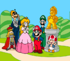 Ōsama (the king of Subcon) and his commander, with Princess Peach, Luigi, Mario, Toad, and a golden statue presented to the heroes by the king as thanks for saving his kingdom.
