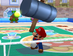 Mario using Iron Hammer in Mario Power Tennis