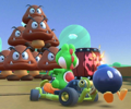The icon of the Roy Cup challenge from the Hammer Bro Tour and the Monty Mole Cup challenge from the 2021 Trick Tour in Mario Kart Tour.