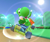 The icon of the Yoshi Cup challenge from the 2020 Yoshi Tour and the Dry Bowser Cup challenge from the 2020 Winter Tour in Mario Kart Tour.