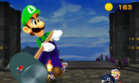 Luigi about to hammer some Shy Guys in the Bros. Attack Mega Thwonk in Mario & Luigi: Paper Jam