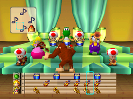 The minigame Mario Bandstand.