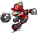 Mario as he appears in the final version of Super Mario Strikers