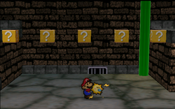 Image of Mario revealing several hidden ? Blocks in Toad Town Tunnels, in Paper Mario.