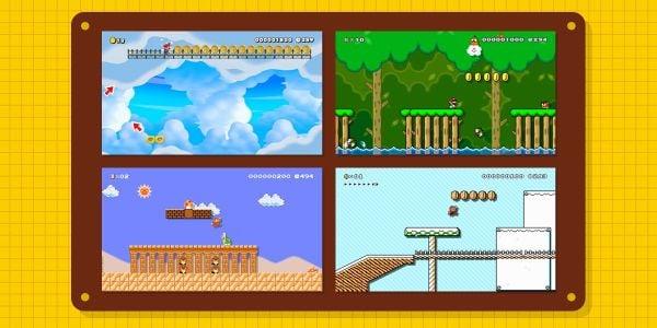 Banner for a Play Nintendo opinion poll on Super Mario Maker 2 level themes. Original filename: <tt>2x1_1200x600_SMM2-poll-02_v01.cdda8eb4.jpg</tt>