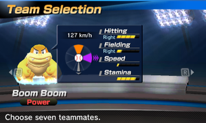 Boom Boom's stats in the baseball portion of Mario Sports Superstars