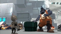 Ratchet & Clank's Plumber takes off a certain other plumber.
