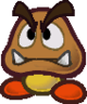 The sprite of a Goomba from Paper Mario: The Thousand-Year Door.