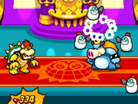 Snawfuls being created by Blizzard Midbus, then defeated inside Bowser