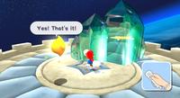 Mario spins to break crystals.