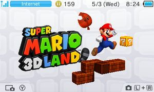 Image that shows when players tap the Super Mario 3D Land icon on the Nintendo 3DS menu.