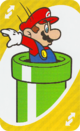The Yellow Reverse card from the UNO Super Mario deck (featuring Mario and a Warp Pipe)