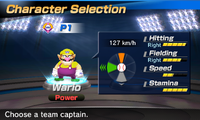 Wario's stats in the baseball portion of Mario Sports Superstars