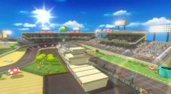 View of Luigi Circuit in Mario Kart Wii
