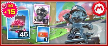The Metal Mario Pack from the Mario vs. Luigi Tour in Mario Kart Tour