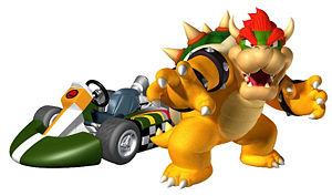 Artwork of Bowser with his Standard Kart from Mario Kart Wii