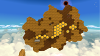 """A screenshot of Honeyclimb Galaxy during the """"Scaling the Sticky Wall"""" mission from Super Mario Galaxy."""