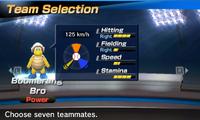 Boomerang Bro's stats in the baseball portion of Mario Sports Superstars