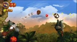 Donkey Kong and Diddy Kong blasting between Barrel Cannons in Canopy Cannons in Donkey Kong Country Returns