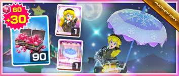 The Peach (Wintertime) Pack from the 2020 Winter Tour in Mario Kart Tour
