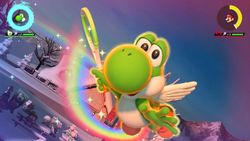 Yoshi performing his Special Shot, the Flying Rainbow
