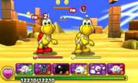 Screenshot of World 3-1, from Puzzle & Dragons: Super Mario Bros. Edition.