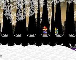 Screenshot of Mario at a hidden? Block location in Boggly Woods, in Paper Mario: The Thousand-Year Door.