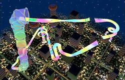 A birds-eye-view of Rainbow Road in Mario Kart: Double Dash!!