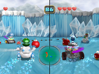 Screenshot of the duel in Snowy Slope from Mario Party 5