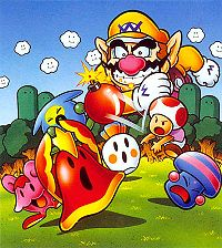 Artwork used for the box art. Toad fights the monsters (Fuzz, Squeak, Dovo, Spud and Spook) of Wario who appears in the background in the woods.