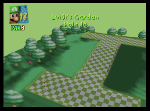The eighteenth hole of Luigi's Garden from Mario Golf (Nintendo 64)